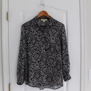 Michael Kors button down patterned blouse